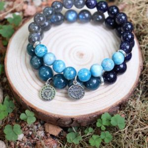 Shop Chakra Bracelets! EVOLUTIONARY Apatite. AMBITION Nightsky Blue Sandstone. INTUITIVE Labradorite. Genuine Natural Gemstone Bracelet. | Shop jewelry making and beading supplies, tools & findings for DIY jewelry making and crafts. #jewelrymaking #diyjewelry #jewelrycrafts #jewelrysupplies #beading #affiliate #ad