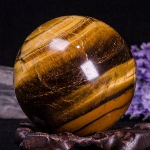 "Shop Tumbled Tiger Eye Crystals & Pocket Stones! 2.24""Yellow Large Tiger's Eye Sphere/Natural Tiger's Eye Ball/Tumbled Tiger's Eye /Energy stone /Decoration-1point-57mm-268g 