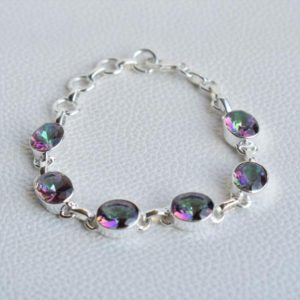 Shop Topaz Bracelets! Natural Mystic Topaz Bracelet-handmade Bracelet For Women-925 Sterling Silver Bracelet-oval Mystic Topaz Bracelet-wedding Glam Hand Jewelry | Natural genuine Topaz bracelets. Buy handcrafted artisan wedding jewelry.  Unique handmade bridal jewelry gift ideas. #jewelry #beadedbracelets #gift #crystaljewelry #shopping #handmadejewelry #wedding #bridal #bracelets #affiliate #ad