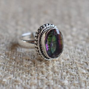 Shop Topaz Rings! Natural Mystic Topaz Ring-Handmade Silver Ring-925 Sterling Silver Ring-Oval Mystic Topaz Designer Ring-Gift for her-Anniversary Ring | Natural genuine Topaz rings, simple unique handcrafted gemstone rings. #rings #jewelry #shopping #gift #handmade #fashion #style #affiliate #ad