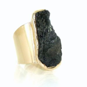 Tourmaline Ring, Raw Tourmaline ring, Black Tourmaline Ring, Natural Stone Ring, Raw Crystal Ring, Black Gemstone Ring,Gold Adjustable Ring. | Natural genuine Black Tourmaline rings, simple unique handcrafted gemstone rings. #rings #jewelry #shopping #gift #handmade #fashion #style #affiliate #ad