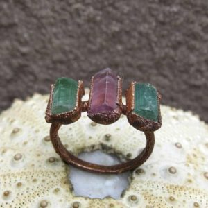 Shop Tourmaline Rings! Raw pink tourmaline copper electroformed ring, Green tourmaline crystal ring | Natural genuine Tourmaline rings, simple unique handcrafted gemstone rings. #rings #jewelry #shopping #gift #handmade #fashion #style #affiliate #ad
