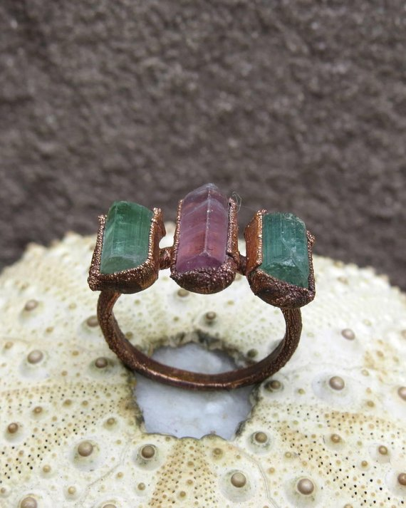 Raw Pink Tourmaline Copper Electroformed Ring, Green Tourmaline Crystal Ring