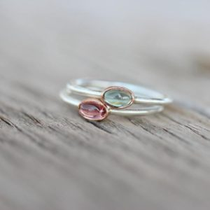 Shop Tourmaline Rings! Tiny Tourmaline 14K Rose Gold Silver Ring Pink or Blue-Green Bi-Color Gemstone Brazil Watermelon Stackable Band Cute Colorful Boho – Tsamma | Natural genuine Tourmaline rings, simple unique handcrafted gemstone rings. #rings #jewelry #shopping #gift #handmade #fashion #style #affiliate #ad