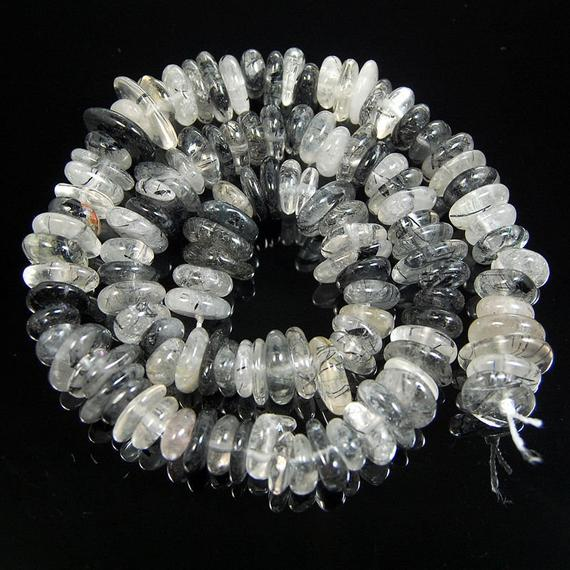 Gem Natural Tourmaline Rutilated Quartz Freeform Rondelle Disk Beads, Spacer Loose Stone Beads,  Jewelry Beads 3-5x8-13mm, 15'' Strand