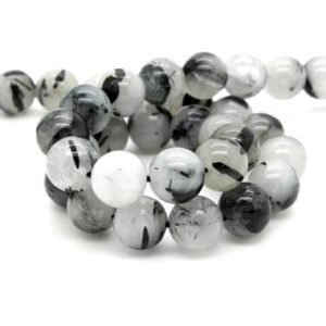 Shop Black Tourmaline Beads! Natural Black Tourmaline Quartz Smooth Round Ball Sphere Loose Gemstone Bead Beads | Natural genuine round Black Tourmaline beads for beading and jewelry making.  #jewelry #beads #beadedjewelry #diyjewelry #jewelrymaking #beadstore #beading #affiliate #ad