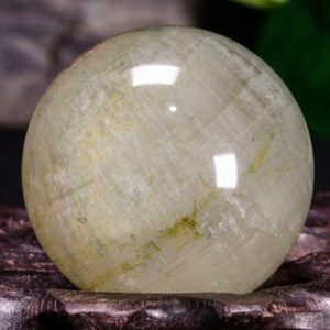 "Shop Tourmaline Shapes! 1.3""Natural Clear Light Green Phantom Quartz Crystal Sphere/Green Tourmaline included/Crystal Collection/Special Gift- 33 mm 56 g #9740 