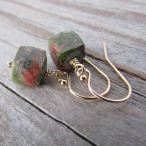 Unakite Earrings, Small, Simple, Faceted Cubes Of Unakite, Green And Pink, Gemstone Earrings | Natural genuine Gemstone earrings. Buy crystal jewelry, handmade handcrafted artisan jewelry for women.  Unique handmade gift ideas. #jewelry #beadedearrings #beadedjewelry #gift #shopping #handmadejewelry #fashion #style #product #earrings #affiliate #ad