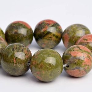 "Shop Unakite Round Beads! 15MM Lotus Pond Unakite Beads Grade AAA Genuine Natural Gemstone Quarter Strand Round Loose Beads 4"" BULK LOT 1,3,5,10 and 50 (103604hf-966) 