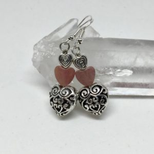 Shop Rhodonite Earrings! Rhodonite silver filigree heart earrings, pink healing stone jewelry, gemstone drop earrings | Natural genuine Rhodonite earrings. Buy crystal jewelry, handmade handcrafted artisan jewelry for women.  Unique handmade gift ideas. #jewelry #beadedearrings #beadedjewelry #gift #shopping #handmadejewelry #fashion #style #product #earrings #affiliate #ad