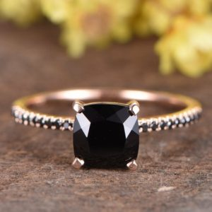 Shop Spinel Rings! VS Black Spinel engagement ring 14K rose gold diamond wedding band 7mm cushion Black Spinel ring women ring vintage women ring promise ring | Natural genuine Spinel rings, simple unique alternative gemstone engagement rings. #rings #jewelry #bridal #wedding #jewelryaccessories #engagementrings #weddingideas #affiliate #ad