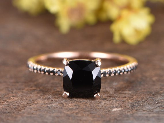 Vs Black Spinel Engagement Ring 14k Rose Gold Diamond Wedding Band 7mm Cushion Black Spinel Ring Women Ring Vintage Women Ring Promise Ring