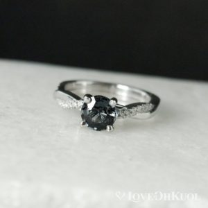 Shop Spinel Rings! White Gold Grey Spinel Engagement Ring – Twisted Diamond Band – Natural Grey Spinel, Twisted Band, Round Grey Spinel | Natural genuine Spinel rings, simple unique alternative gemstone engagement rings. #rings #jewelry #bridal #wedding #jewelryaccessories #engagementrings #weddingideas #affiliate #ad