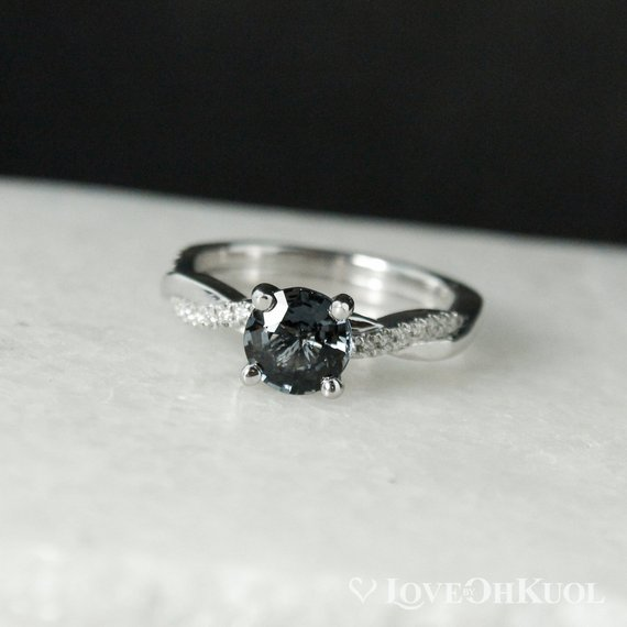 White Gold Grey Spinel Engagement Ring - Twisted Diamond Band - Natural Grey Spinel, Twisted Band, Round Grey Spinel