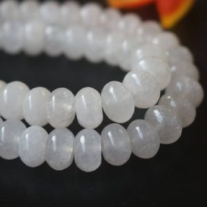 "Shop Rondelle Gemstone Beads! White Jade Rondelle Beads,4x6mm 5x8mm, Rondelle Malaysian White Jade Beads supply,15"" strand 