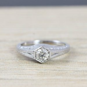 White sapphire engagement ring art nouveau 1900's inspired band 14k unique ring for her | Natural genuine Array rings, simple unique alternative gemstone engagement rings. #rings #jewelry #bridal #wedding #jewelryaccessories #engagementrings #weddingideas #affiliate #ad