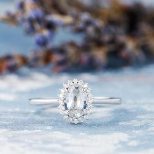 Flower White Sapphire Engagement Ring White Gold Wedding Bridal Ring Halo Diamond Solitaire Traditional Antique Birthstone Gift Women Ring | Natural genuine Array rings, simple unique alternative gemstone engagement rings. #rings #jewelry #bridal #wedding #jewelryaccessories #engagementrings #weddingideas #affiliate #ad