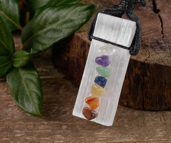 Selenite & Chakra Crystal Necklace - Gemstone Pendant, Crystal Jewelry, Healing Crystals And Stones, E0593