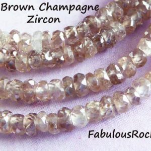 Shop Zircon Beads! 10-100 pcs / ZIRCON Rondelles Beads, Natural Champagne Brown Zircon, Faceted AAA, 3-3.5 mm, December birthstone, like Brown Diamonds 35 | Natural genuine faceted Zircon beads for beading and jewelry making.  #jewelry #beads #beadedjewelry #diyjewelry #jewelrymaking #beadstore #beading #affiliate #ad