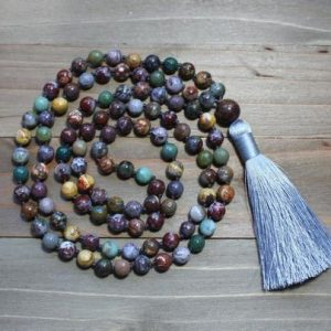 Shop Agate Necklaces! Agate Bead Necklace, Mala Bead Necklace, Yoga Bead Necklace, Agate Mala, Agate Jewelry, Yoga Gifts for Men, Boho Gift Ideas, Boho Style | Natural genuine Agate necklaces. Buy handcrafted artisan men's jewelry, gifts for men.  Unique handmade mens fashion accessories. #jewelry #beadednecklaces #beadedjewelry #shopping #gift #handmadejewelry #necklaces #affiliate #ad
