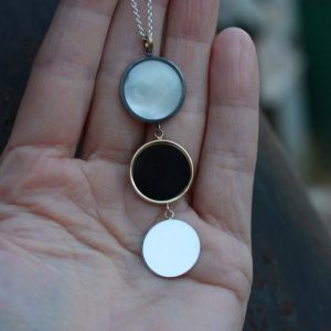 Long Triple Moon Silver Gold Necklace Mother of Pearl Agate Black White Yellow 14k Romantic Celestial Lunar Boho Gift Idea Her – Mondgestirn | Natural genuine Gemstone necklaces. Buy crystal jewelry, handmade handcrafted artisan jewelry for women.  Unique handmade gift ideas. #jewelry #beadednecklaces #beadedjewelry #gift #shopping #handmadejewelry #fashion #style #product #necklaces #affiliate #ad