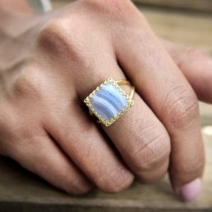 Shop Agate Rings! Gold Ring, square Ring, lace Agate Ring, vintage Ring, gemstone Ring, bridesmaid Gifts, birthday Gift, semiprecious Ring | Natural genuine Agate rings, simple unique handcrafted gemstone rings. #rings #jewelry #shopping #gift #handmade #fashion #style #affiliate #ad