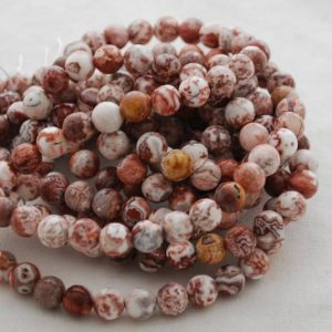 """Shop Red Agate Beads! High Quality Grade A Natural Laguna Agate (red, white) Semi-precious Gemstone Round Beads – 4mm, 6mm, 8mm sizes – 15.5"""" strand   Natural genuine beads Agate beads for beading and jewelry making.  #jewelry #beads #beadedjewelry #diyjewelry #jewelrymaking #beadstore #beading #affiliate #ad"""
