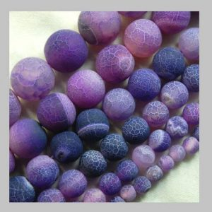 Natural Matte Frosted Purple Fire Crackle Agate beads, 4mm 6mm 8mm 10mm 12mm 14mm 16mm Stone Round Jewelry Gemstone Beads Jewelry making | Natural genuine round Gemstone beads for beading and jewelry making.  #jewelry #beads #beadedjewelry #diyjewelry #jewelrymaking #beadstore #beading #affiliate #ad