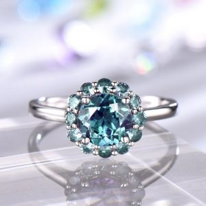 Floral Alexandrite Engagement Ring White Gold Plain Band 7mm Round Cut Lab Alexandrite Color Changing Stone 14k/18k/Platinum Available | Natural genuine Gemstone rings, simple unique alternative gemstone engagement rings. #rings #jewelry #bridal #wedding #jewelryaccessories #engagementrings #weddingideas #affiliate #ad