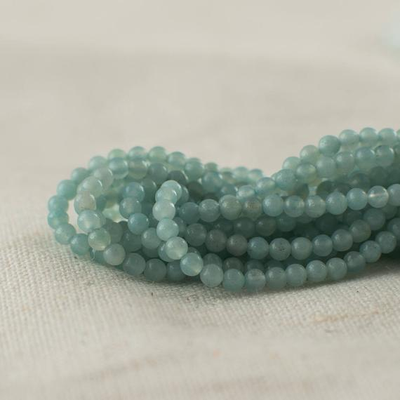 "High Quality Grade A Natural Amazonite Semi-precious Gemstone Round Beads - 2mm - Approx 15.5"" Strand"