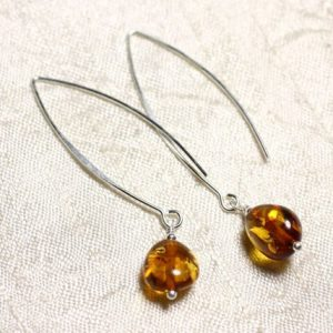 Shop Amber Earrings! Amber and Silver 925 long hooks earrings natural Olives 9-10mm | Natural genuine Amber earrings. Buy crystal jewelry, handmade handcrafted artisan jewelry for women.  Unique handmade gift ideas. #jewelry #beadedearrings #beadedjewelry #gift #shopping #handmadejewelry #fashion #style #product #earrings #affiliate #ad