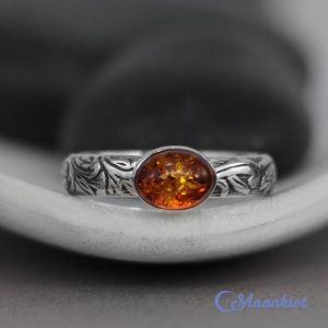 Oval Amber Promise Ring,  Sterling Silver Amber Ring, Oval Gemstone Ring, Amber Stacking Ring, Taurus Birthstone | Moonkist Designs | Natural genuine Gemstone rings, simple unique handcrafted gemstone rings. #rings #jewelry #shopping #gift #handmade #fashion #style #affiliate #ad