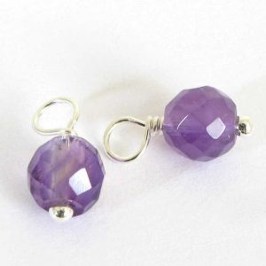 Shop Amethyst Faceted Beads! Two Amethyst Charms, Faceted 5mm Amethyst Dangles, Sterling Silver Wire Wrapped Component, With or Without Jump Rings, February Birthstone | Natural genuine faceted Amethyst beads for beading and jewelry making.  #jewelry #beads #beadedjewelry #diyjewelry #jewelrymaking #beadstore #beading #affiliate #ad