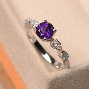 Shop Unique Amethyst Engagement Rings! Amethyst ring, February birthstone ring, engagement  ring,marquise shape shank, silver proposal ring | Natural genuine Amethyst rings, simple unique alternative gemstone engagement rings. #rings #jewelry #bridal #wedding #jewelryaccessories #engagementrings #weddingideas #affiliate #ad