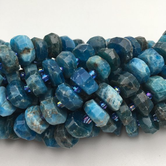 """Natural Apatite Faceted Rondelle Beads 5x12-8x15mm 15.5"""" Strand"""
