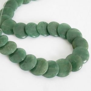 16mm Green Aventurine Beads, 16mm Stacking Coin Aventurine Bead Strand, Full Strand, Natural Gemstone, 16mm Aventurine, Ave209 | Natural genuine other-shape Gemstone beads for beading and jewelry making.  #jewelry #beads #beadedjewelry #diyjewelry #jewelrymaking #beadstore #beading #affiliate #ad