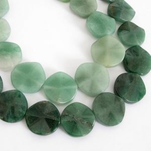 Shop Aventurine Bead Shapes! 20mm Green Aventurine Beads, 20mm Wavy Coin Aventurine Bead Strand, Full Strand, Green Gemstone Beads, 20mm Aventurine, Ave211 | Natural genuine other-shape Aventurine beads for beading and jewelry making.  #jewelry #beads #beadedjewelry #diyjewelry #jewelrymaking #beadstore #beading #affiliate #ad