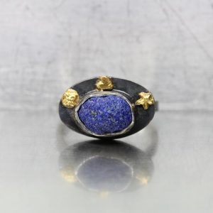 Shop Azurite Rings! Raw Azurite Blue Planet Ring Oxidized Silver 22k Yellow Gold Oval Bezel Band Star Heart Flower Symbolic Gift Idea For Her – Der blaue Planet | Natural genuine Azurite rings, simple unique handcrafted gemstone rings. #rings #jewelry #shopping #gift #handmade #fashion #style #affiliate #ad