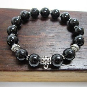 Black Tourmaline Charm Bracelet Choose your charm. | Natural genuine Array bracelets. Buy crystal jewelry, handmade handcrafted artisan jewelry for women.  Unique handmade gift ideas. #jewelry #beadedbracelets #beadedjewelry #gift #shopping #handmadejewelry #fashion #style #product #bracelets #affiliate #ad