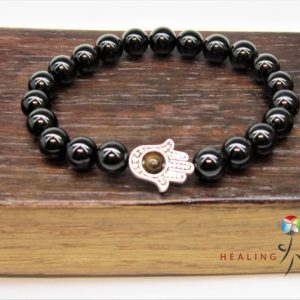 Shop Black Tourmaline Bracelets! Hamsa Hand Black Tourmaline Fatima Hand Bracelet Hamsa Charm Bracelet Hamsa Hand Black Tourmaline Protection Mala Bracelet Black Tourmaline | Natural genuine Black Tourmaline bracelets. Buy crystal jewelry, handmade handcrafted artisan jewelry for women.  Unique handmade gift ideas. #jewelry #beadedbracelets #beadedjewelry #gift #shopping #handmadejewelry #fashion #style #product #bracelets #affiliate #ad