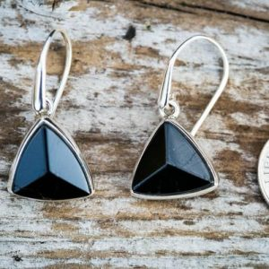 Shop Black Tourmaline Jewelry! Black Tourmaline Earrings – Faceted Black Tourmaline Earrings – Trillion Black Tourmaline Earrings – Black Tourmaline Dangle Earrings | Natural genuine Black Tourmaline jewelry. Buy crystal jewelry, handmade handcrafted artisan jewelry for women.  Unique handmade gift ideas. #jewelry #beadedjewelry #beadedjewelry #gift #shopping #handmadejewelry #fashion #style #product #jewelry #affiliate #ad