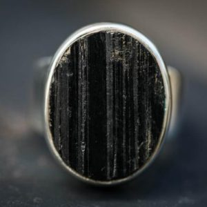 Shop Black Tourmaline Rings! Black Tourmaline Ring 13 Raw Uncut Black Tourmaline Slice Ring –  Unisex Raw Black Tourmaline Ring – Raw Uncut Black Tourmaline Ring 13 | Natural genuine Black Tourmaline rings, simple unique handcrafted gemstone rings. #rings #jewelry #shopping #gift #handmade #fashion #style #affiliate #ad