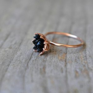 Black Tourmaline Ring, Multi Stone Jewelry in 14K Rose Gold, Lotus Flower Ring Trending on Etsy, Black and Gold, Modern Crystal Valentine's | Natural genuine Black Tourmaline rings, simple unique handcrafted gemstone rings. #rings #jewelry #shopping #gift #handmade #fashion #style #affiliate #ad