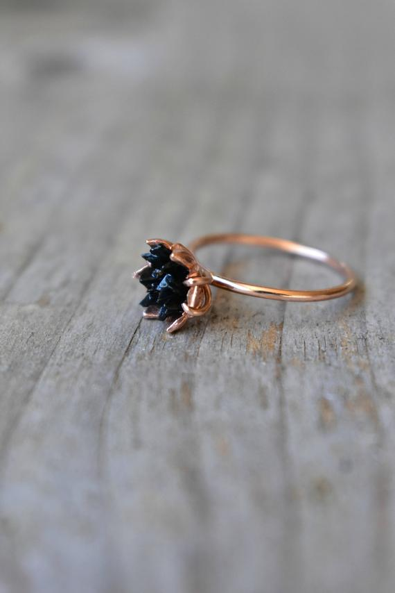 Black Tourmaline Ring, Multi Stone Jewelry In 14k Rose Gold, Lotus Flower Ring Trending On Etsy, Black And Gold, Modern Crystal Valentine's