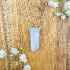 "Shop Blue Lace Agate Necklaces! Small blue lace agate crystal necklace in bronze, silver, gold or rose gold – 16"" chain with 2"" extender 