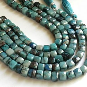 7-8mm Chrysocolla Cube Beads, Natural Chrysocolla Faceted Box Beads, Chrysocolla For Necklace, Chrysocolla Box Beads (4IN To 8IN Options) | Natural genuine other-shape Gemstone beads for beading and jewelry making.  #jewelry #beads #beadedjewelry #diyjewelry #jewelrymaking #beadstore #beading #affiliate #ad