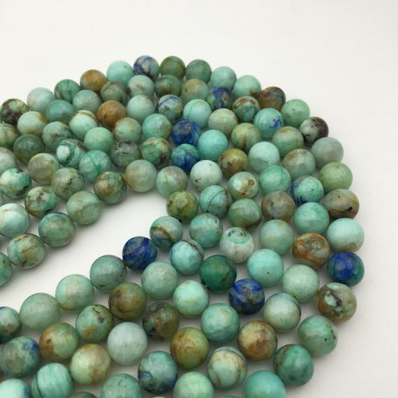 """Natural Chrysocolla Smooth Round Beads 6mm 8mm 10mm 12mm 15.5"""" Strand"""