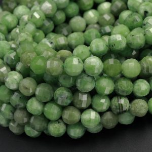 "Shop Chrysoprase Faceted Beads! Geometric Lantern Faceted Natural African Green Chrysoprase 10mm Round Beads Sparkling Dazzling Facet Good For Earring Pair Beads 16"" Strand 
