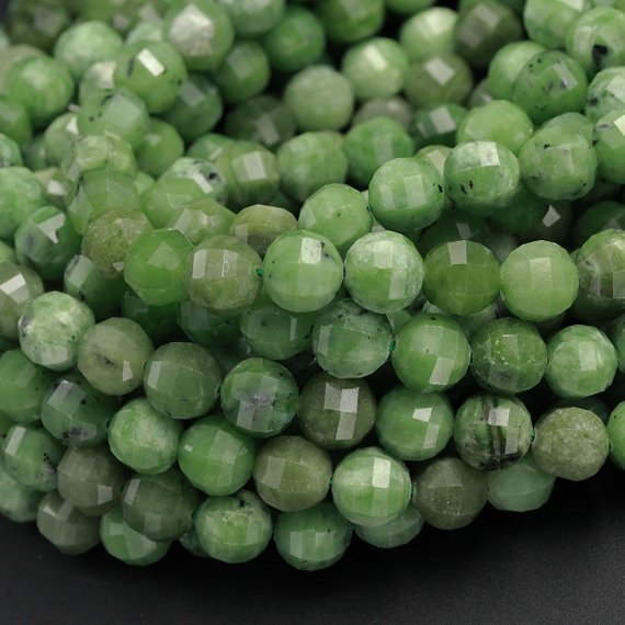 "Geometric Lantern Faceted Natural African Green Chrysoprase 10mm Round Beads Sparkling Dazzling Facet Good For Earring Pair Beads 16"" Strand"