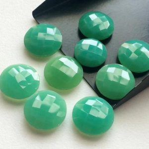 Shop Chrysoprase Faceted Beads! Chrysoprase Stones, Loose Chrysoprase Round Double Side Faceted, Checker Cut Gemstones, 14-16mm, 7 Pcs – KRS248 | Natural genuine faceted Chrysoprase beads for beading and jewelry making.  #jewelry #beads #beadedjewelry #diyjewelry #jewelrymaking #beadstore #beading #affiliate #ad
